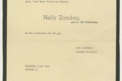 overlijdenskaart van Nelly Zondag 1e vrouw van Jan Z. en moeder van Loeki