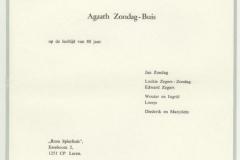 overlijdenskaart van Agaath Zondag-Buis 2e vrouw Jan Zondag